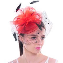Feather Flower Fascinator Polka Dot Net Pillbox Cocktail Hat Hair Clip
