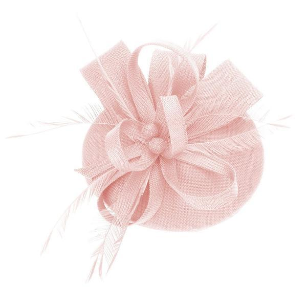 Women Wedding Party Bow Feather Pink Fascinator Hair Clip Derby Hat