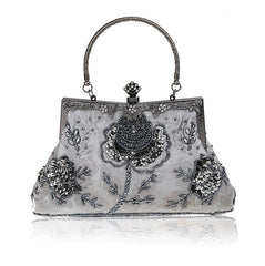 Women's Vintage Style Roses Beaded And Sequined Evening Bag