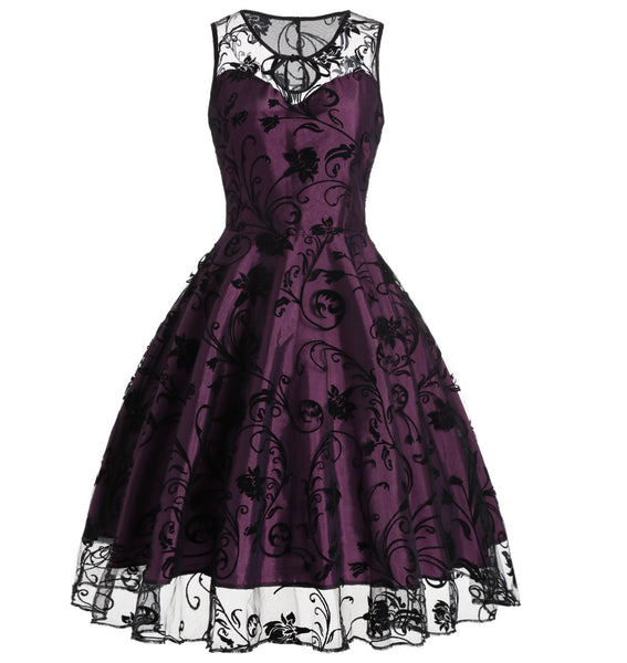 Vintage Dress Lace Women's Illusion Sleeveless Retro Dresses