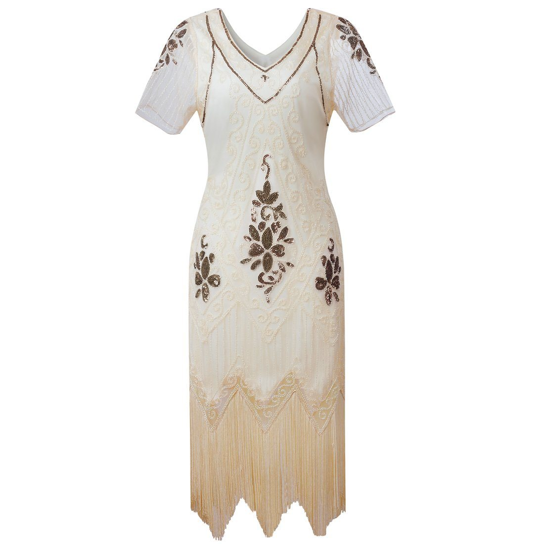 Ivory Gold Roaring Twenties Great Gatsby Flapper Dress Charleston 1920's Themed Birthday Party