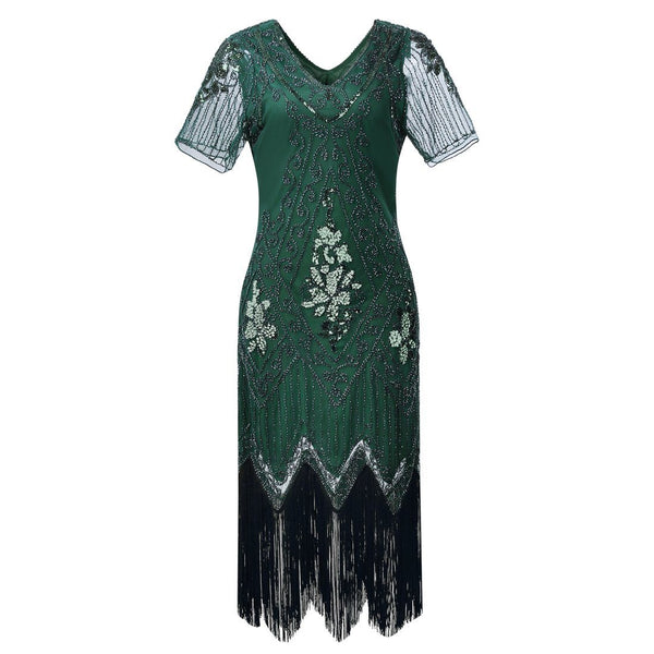 1920s Inspired Dress Great Gatsby Flapper Dresses 20's Themed Party Green