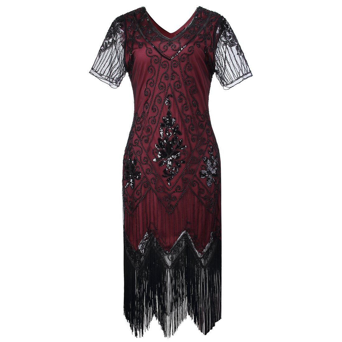 Classic 1920s Style Dress 1920's Gatsby Vibe 20s Vintage Boho Wedding Wine Red