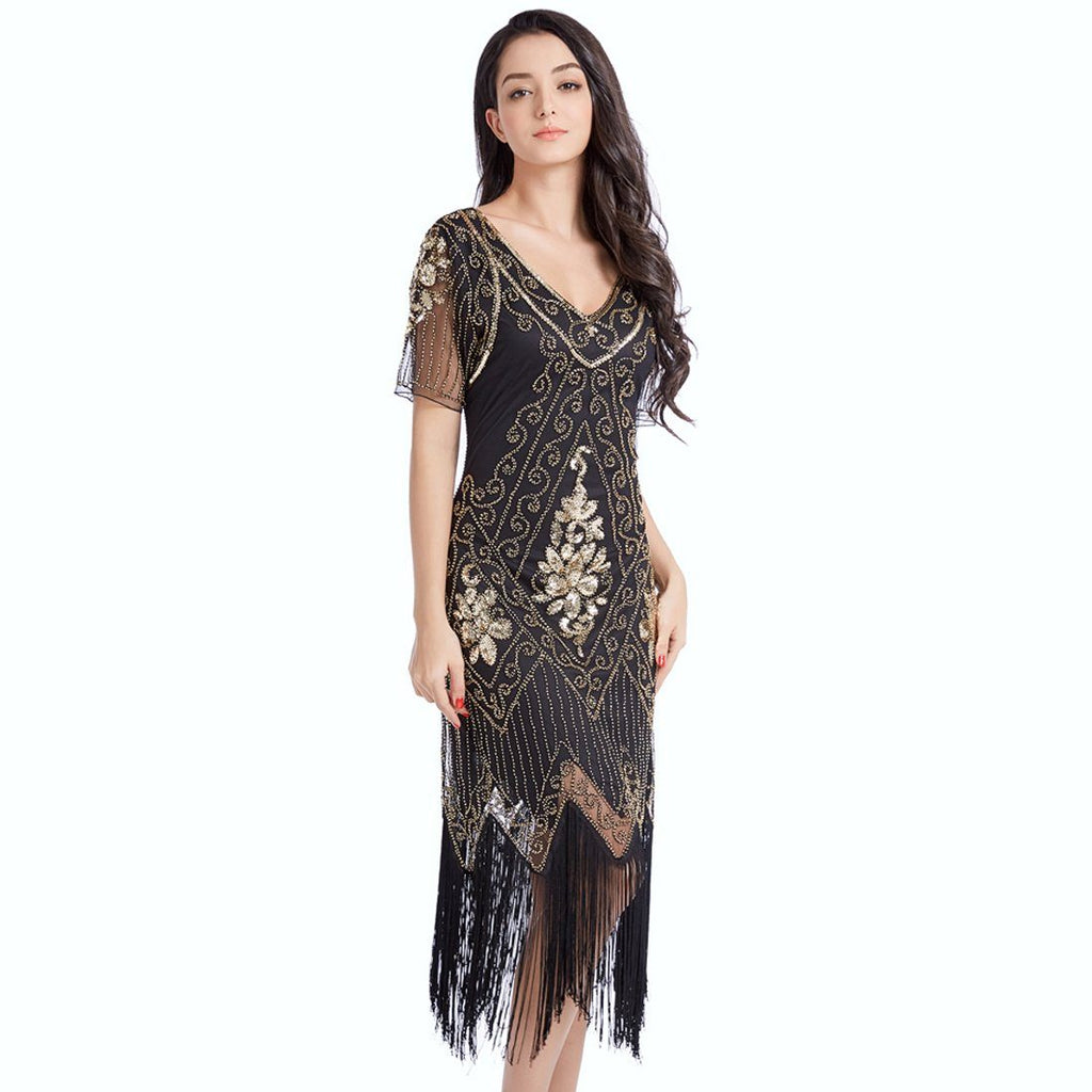 16dfc2ea702d7 Black Gold Flapper Dress Great Gatsby 1920s Style Wedding Party ...