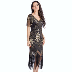 Black Gold Flapper Dress Great Gatsby 1920s Style Wedding Party
