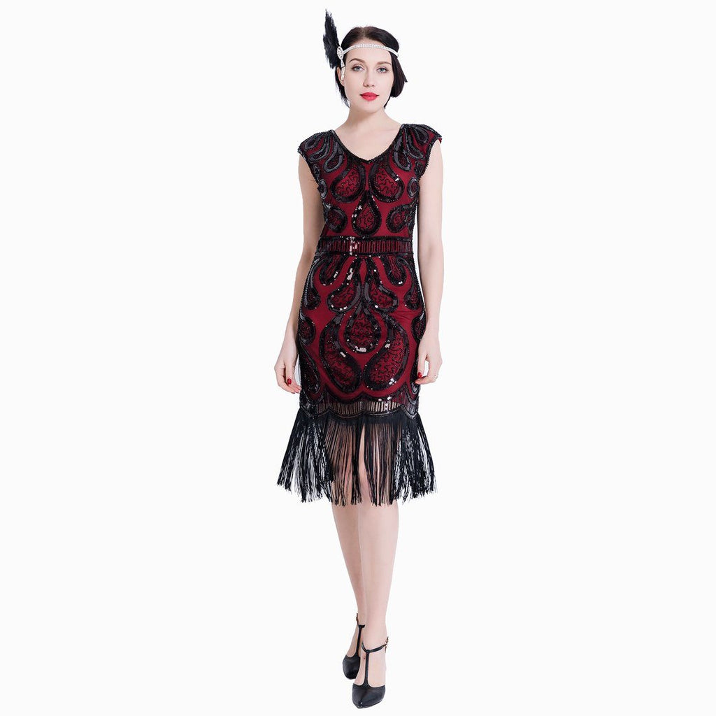 Great Gatsby Dresses 1920s Fashion Sequined Art Deco 1920