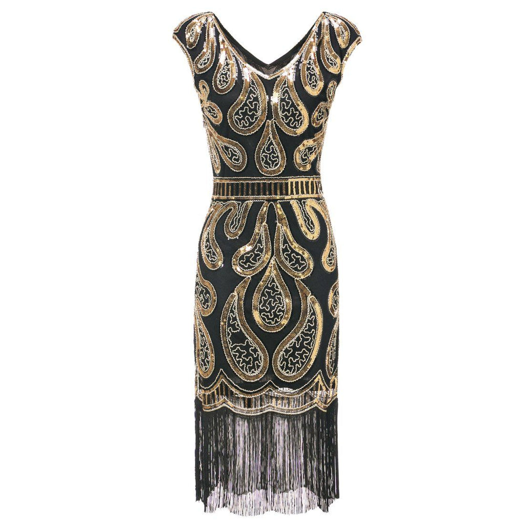 fa3ce4147610 Gold Great Gatsby Dresses Sequin 1920s Peaky Blinder Themed Party ...