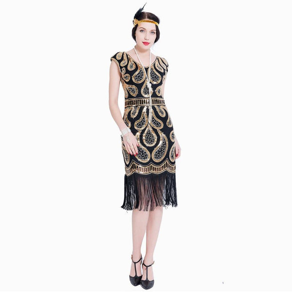Gold Great Gatsby Dresses Sequin 1920s Peaky Blinder Themed Party