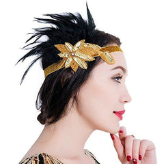 1920s Feather Headpiece Great Gatsby Vintage Headpiece Accessories Gold