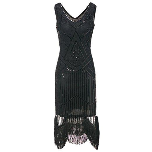Black Gatsby Dress Flapper-style Party 1920s