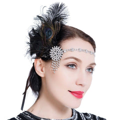 1920s Flapper Headband Vintage Peacock Headpiece