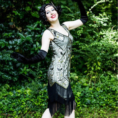 1920s Inspired Gatsby Dress Rose Print Evening Party