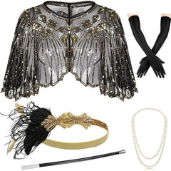 Gold 1920s Shawl Wraps with Gatsby Accessories Set of 5