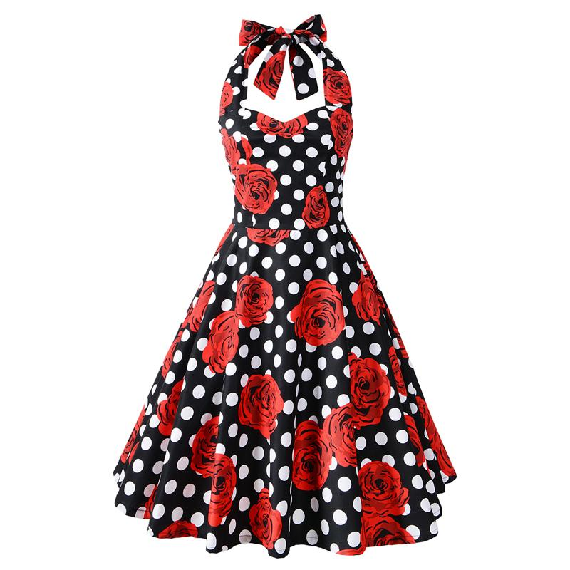 Vintage Polka Dot Retro Cocktail Prom Dresses 50's