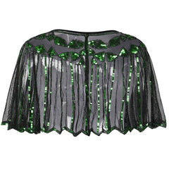 1920s Shawl Sequin Evening Cape Flapper Cover Up Green