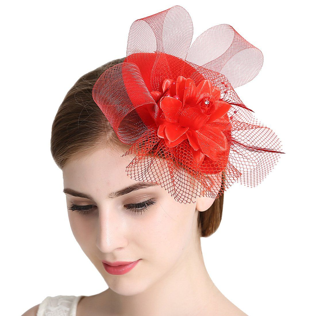 Feather Fascinators Flower Kentucky Derby Hat Hair Clip