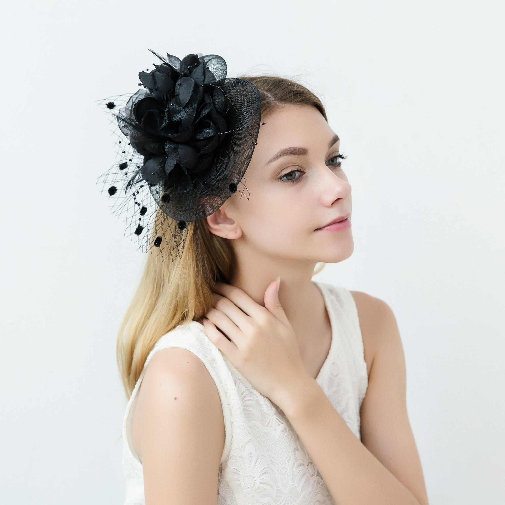 Feather Black Fascinator Hat Occasion Wedding Hats