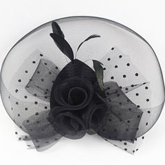 Top Hat Feather Fascinator Polka Dot Mesh Net Hair Clip