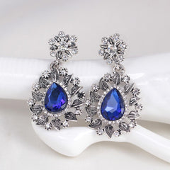 Sterling Silver Snowflake Flower Blue Crystal  Dangle Women Earring