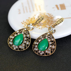 Women Vintage Rhinestone Crystal Emerald Earrings