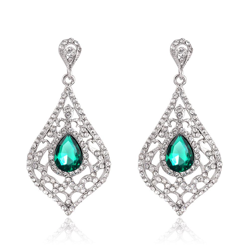 Women's Hollow Out Vintage Green Crystal Wedding Dangle Drop Earrings