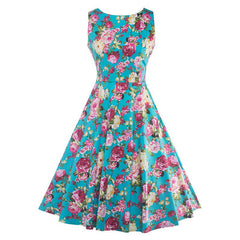 Homecoming 1950s Retro Sleeveless Flared A-Line Vintage Floral Dress