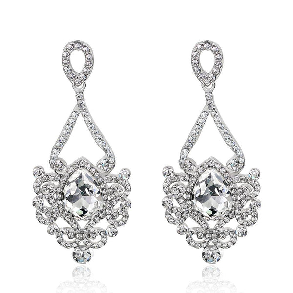 Crystal Rhinestone Chandelier Dangle Earrings Bridal 1920s Style