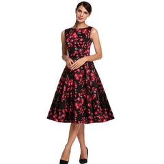 1950s Style Floral Rose Pattern Swing Circle Party Dress