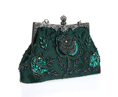 Women's Vintage Evening Bags Beaded Sequined Clutch Wedding Party Purse
