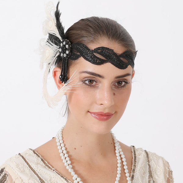 Gatsby 1920s Flapper Headpiece Women Vintage Flapper Headband 20s Accessories for Gatsby Prom Costume