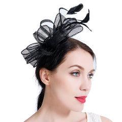 Feather Sinamay Fascinators with Headbands Tea Party Pillbox Hat