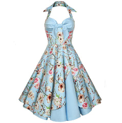 Halter Style 1950s Rockabilly Vintage Swing Dress