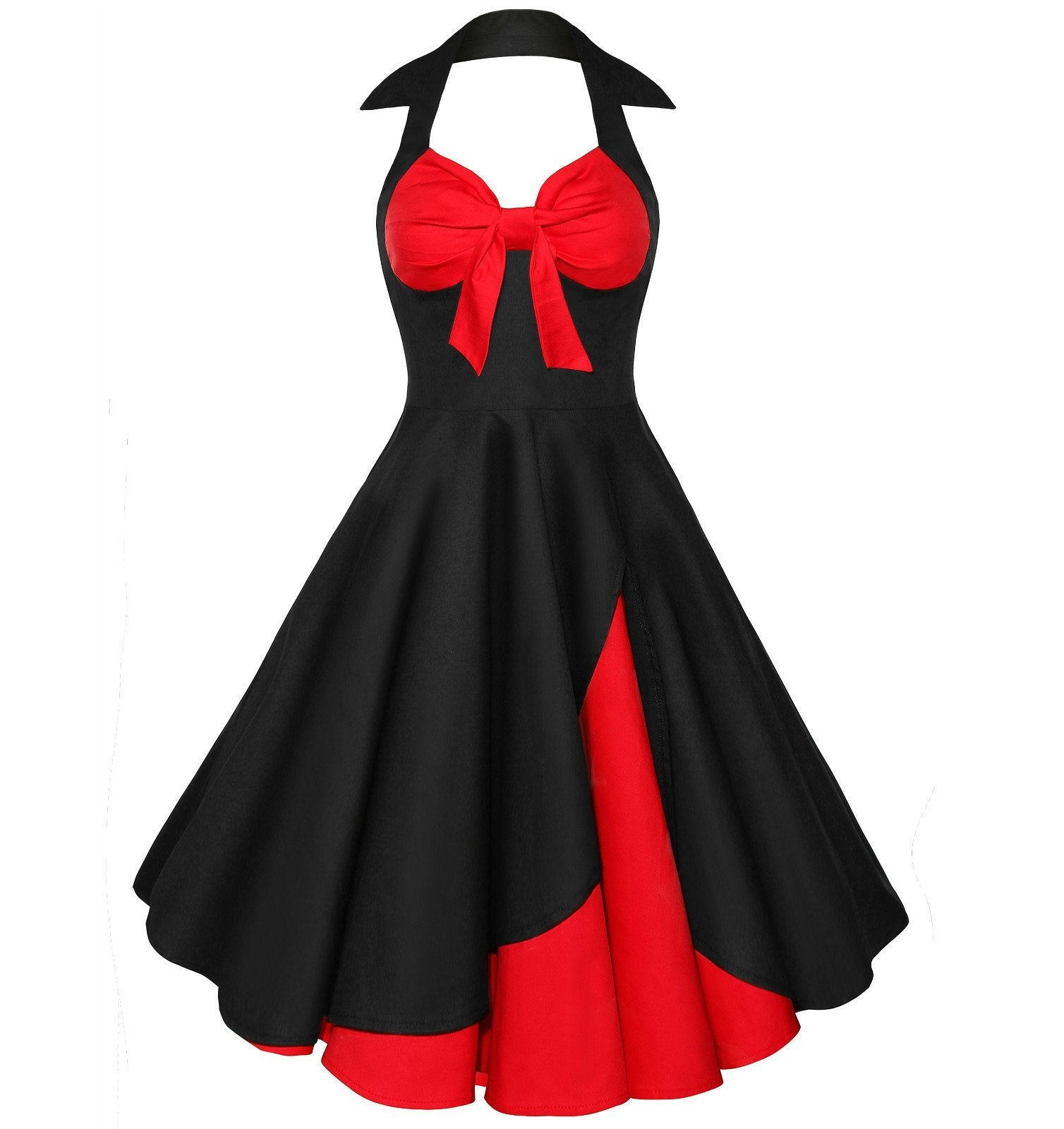 Swing Style Halter 50s Vintage Dresses for Women 1950s
