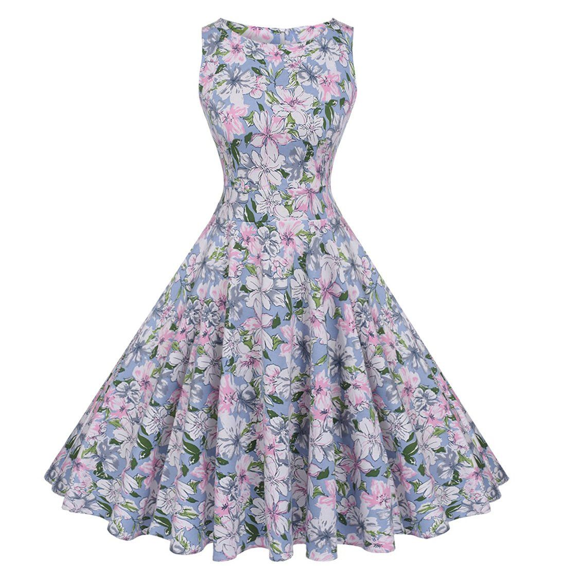 A Line Vintage Dress Floral Sleeveless 50s Dresses