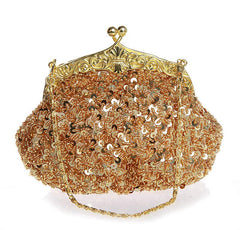 Fully Sequined Mesh Beaded Antique Style Evening Formal Clutch Purse