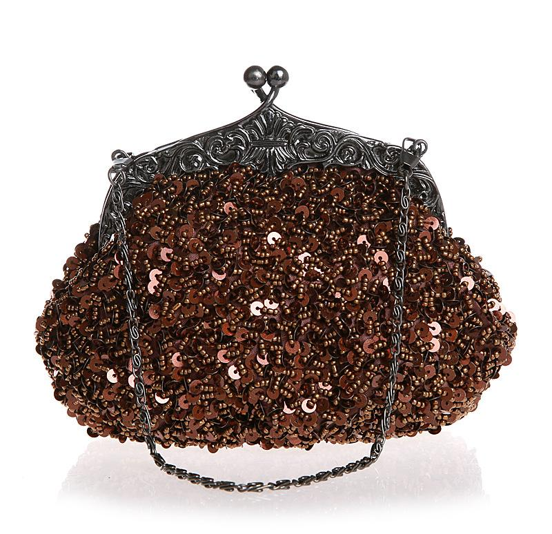 Vintage Pure Color Sequin Handbag Evening bag