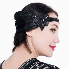 1920s Art Deco Gatsby Headpiece Black