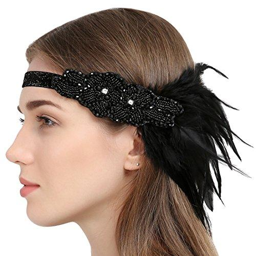 Black Beaded Flapper Headband 1920s Gatsby  Costume Accessories