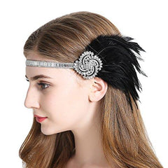 Flapper Headband 1920s Gatsby Feather Headpiece Black