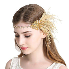 Flapper Headband 1920s Art Deco Gatsby Feather Headpiece|JaosWish
