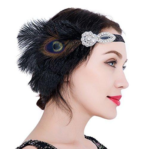 Peacock 1920s Gatsby Headpieces Black