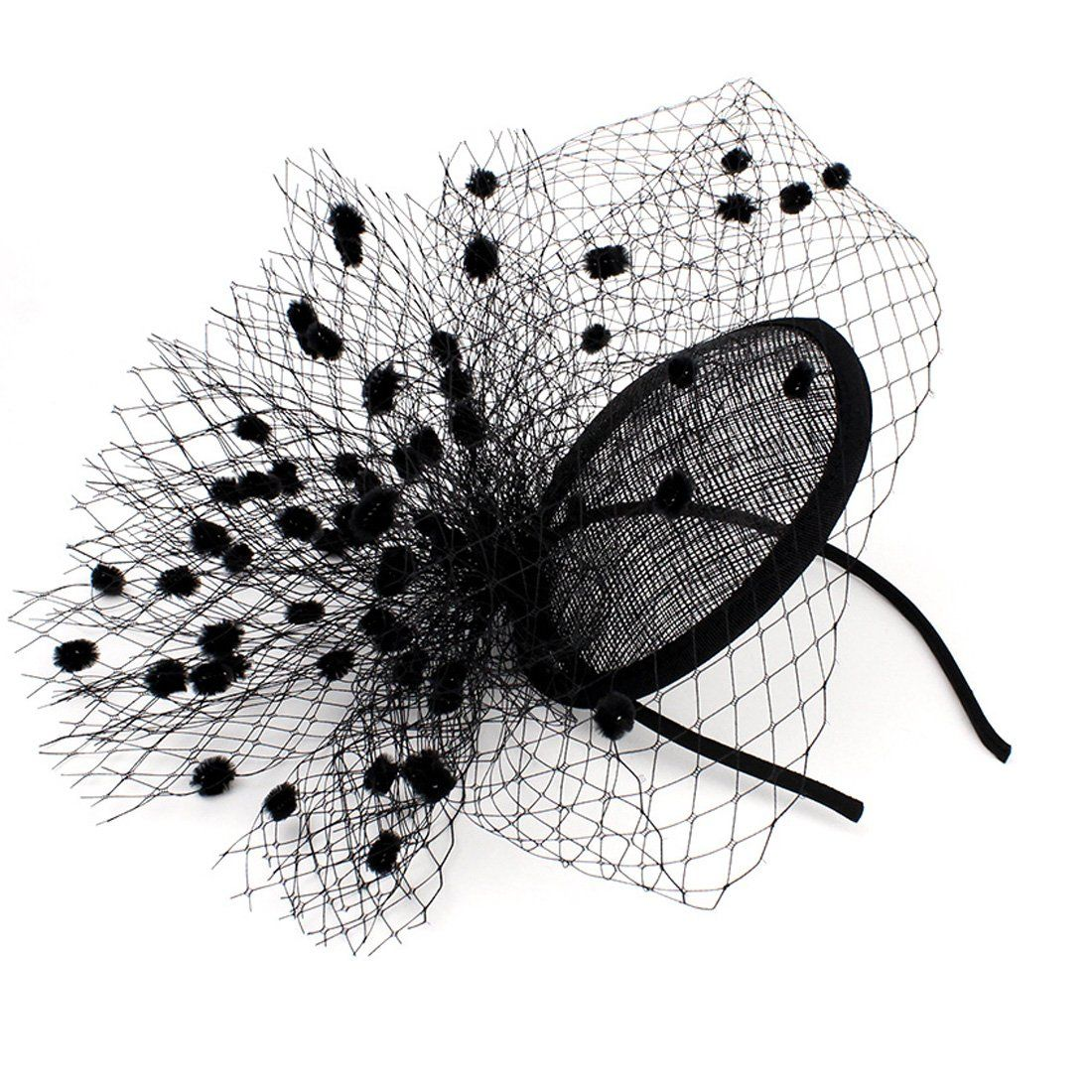 Sinamay Feather Fascinators Womens Pillbox Flower Derby Hat with Headband and Clip