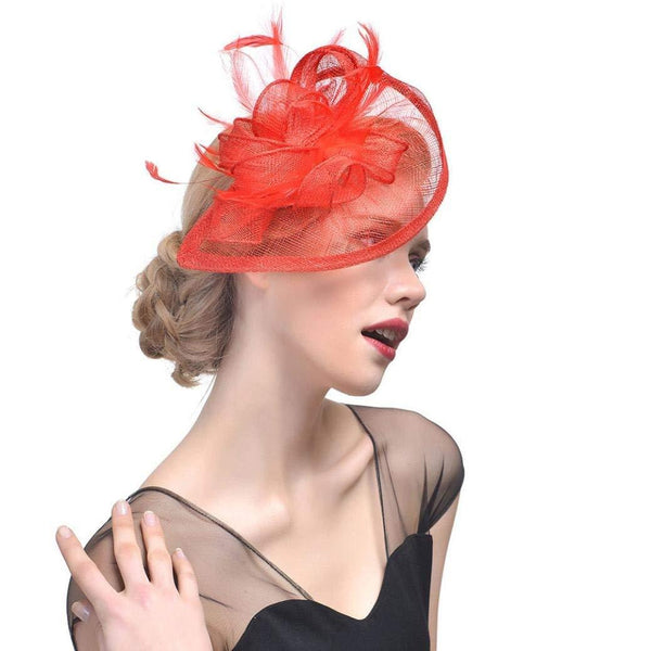 Tea Party hats Red Fascinator Wedding Fascinators for Women