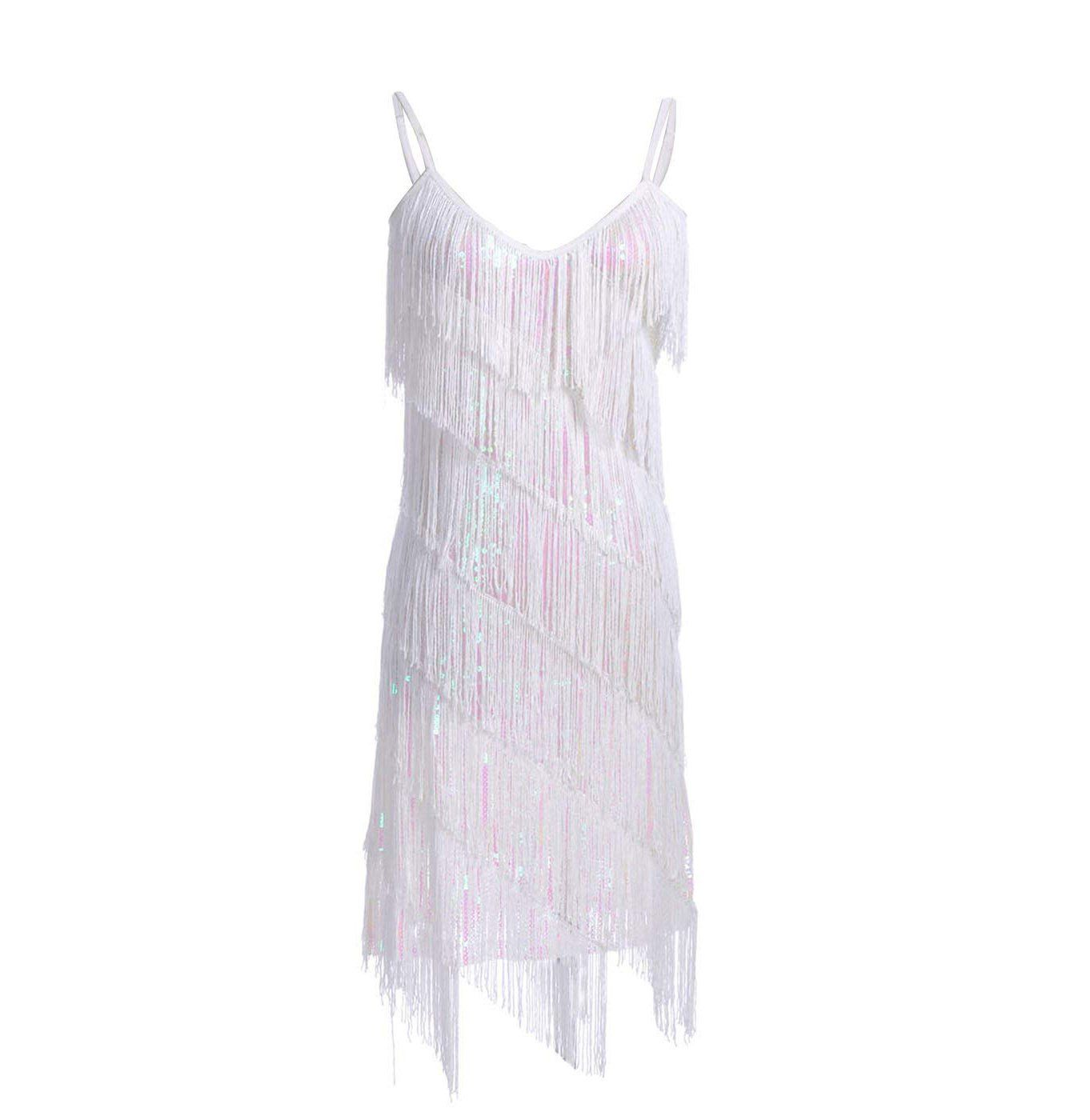 Fringe Sequin Strap Backless 1920s Flapper Mini Dress White