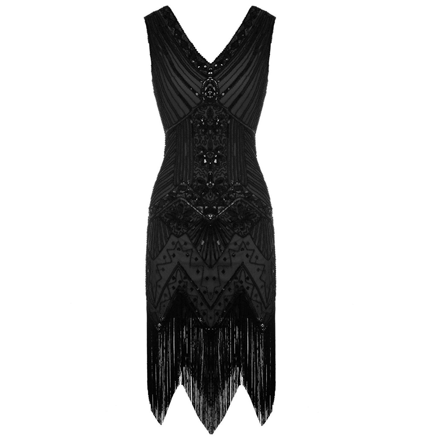 Black Vintage Gatsby Dress Beaded Fringed 1920s Evening Party