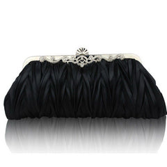 Womens Satin Pleated Evening Clutch Bags 1920s Accessories