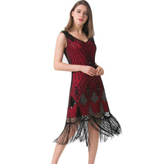 wine red 1920s Fashion Flapper Dress Vintage Cocktail Evening Gatesby Party