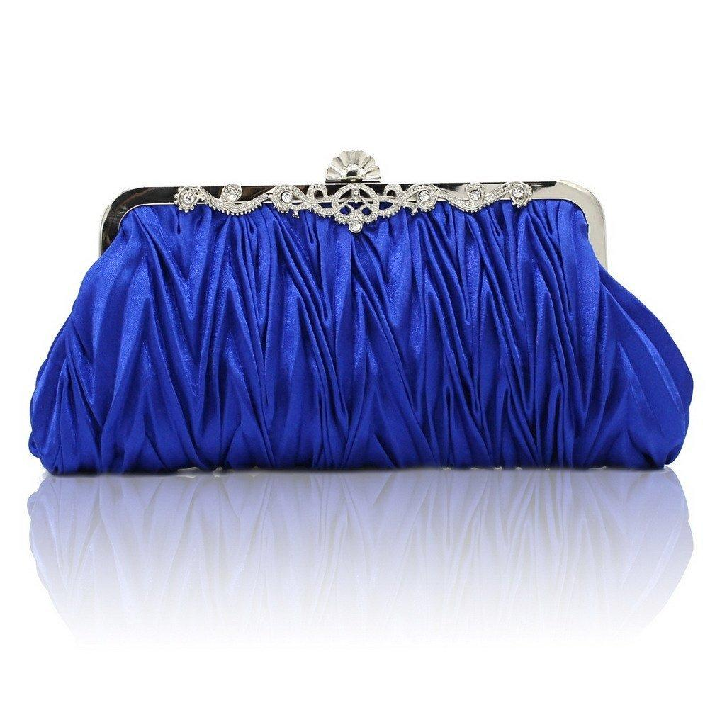 Vintage Satin Pleated Envelope Evening Cocktail Wedding Handbag