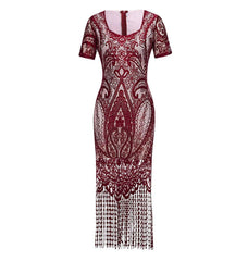 1920s Fashion Flapper Great Gatsby Dress Wine Red