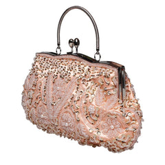 Beaded Sequin Design Metal Frame Kissing Lock Evening Clutch Handbag